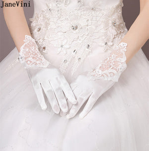 JaneVini Romantic Satin Wedding Gloves Wrist Length Appliques Beaded