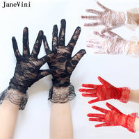 JaneVini Sexy Black Red White Full Finger Lace Short Bridal Gloves Wrist Length
