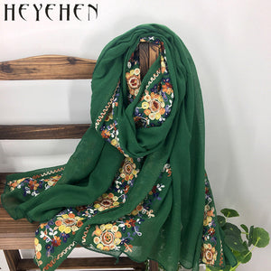 Japanese Embroidered Women Bandana Winter Cotton Polyester Scarf Long Shawl  Muslim Ladies Hijab