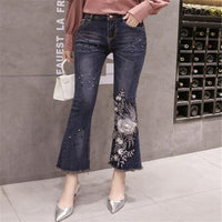 Jeans Female New Lace Flower embroidered Flared Pants Nine Points Pants Fur Wide Leg Pants Beaded