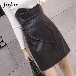 Jielur Fashion Slim High Waist Leather Skirt Office Lady Skirt High Street Elegant Sheath Black Skirts