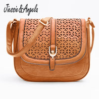 Jiessie & Angela Hot Sale Women Messenger Bag Leather Handbag bolsas femininas Vintages Hollow Out Cross Body Shoulder Bag