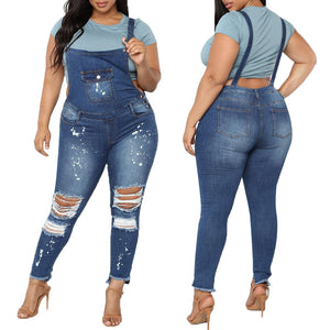 Jumpsuit Casual Bib Pants Denim Ripped Jeans for Women Bodysuit Ladies Rompers Slim Overalls Plus Size 5XL combinaison femme H40