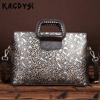 Leather Vintage Women Briefcase Message Bag Embossed Handbag Laptop Bag