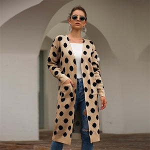 KANCOOLD coats Fashion Women Knitted Dot Print Cardigan Sweater Coat Long Sleeve Casual new woman coats and jackets 2019JUL10