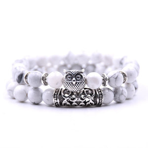 KANGKANG 2 pieces /set classic 18 colors Natural stone bracelets animal owl  bracelets For Women Men Cool hot Selling bracelet