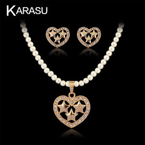 KARASU Adorable Three Star Heart Simulated Pearl Rhinestone Necklace Earring Set for Women 2-Piece Jewelry Set