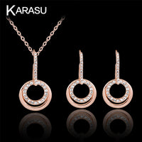 KARASU Fashion Distinguished Lustrous Round Rhinestones Necklace Earring Set For Women 2-Piece Jewelry Set