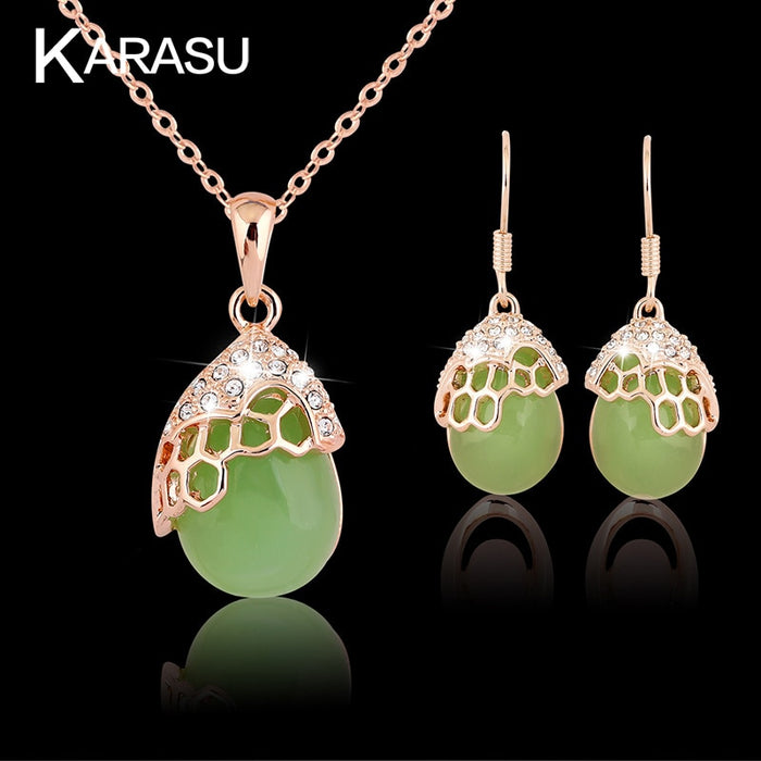 KARASU Green Natural Stone Opal Crystal Necklace Earring Sets High Quality Gem Stone Rose Bridal 2-Piece Jewelry Sets