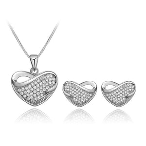 KARASU Korean Style Popular Lovely Heart Rhinestone Necklace Earring Set For Women 2-Piece Jewelry Set