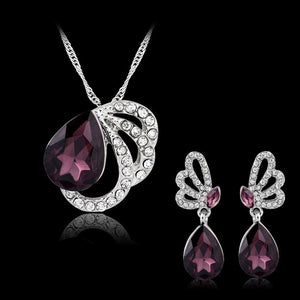 KARASU Purple Austrian Crystal Jewelry Sets White Gold-color Bridal Wedding Accessories African Dubai 2-Piece Jewelry Sets