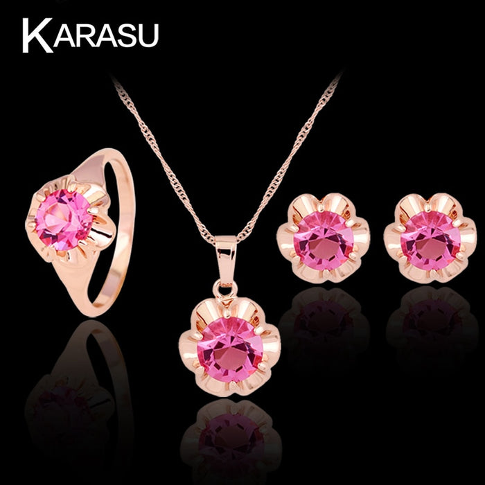 KARASU Royal Cubic Zirconia Cute Fashion Hot Pink Flower Rhombic Ring Necklace Earring Set For Women 3-Piece Jewelry Set