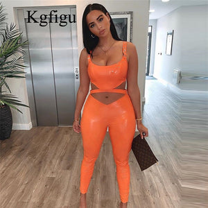 KGFIGU Latex Faux PU Leather Pants Women Trousers Up High Waist Skinny Pants Pencil summer Sexy Pants Female