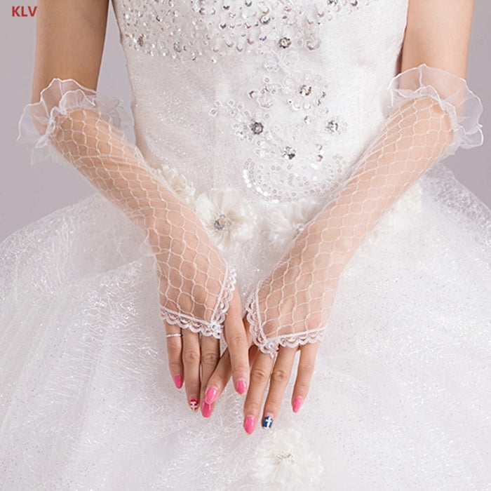 KLV Womens Lace Mesh Gloves Fingerless Elbow Length Long Gloves for Party