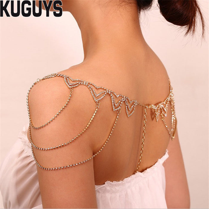 KUGUYS Trendy Jewelry Gold Silver Crystals Tassle Necklace for Women Bride Shoulder Chains Fashion Party Wedding Accessories