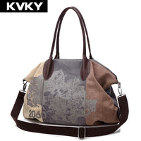 KVKY Vintage Women Canvas Bag Brands Fashion Casual Large Capacity Hobos Bag Ladies Crossbody Bags Trapeze Ruched Shoulder Bags