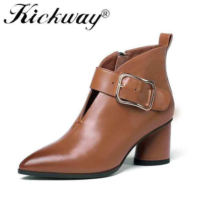 Kickway Plus Size 34-42 Genuine Leather Shoes Women Ankle Boots