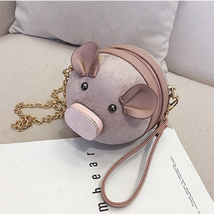 Korean Fashion Suede Women Bag Pig Small Round Bag Chain Female Shoulder Messenger Bag Wrist Bag Party Clutch Coin Purse 2019