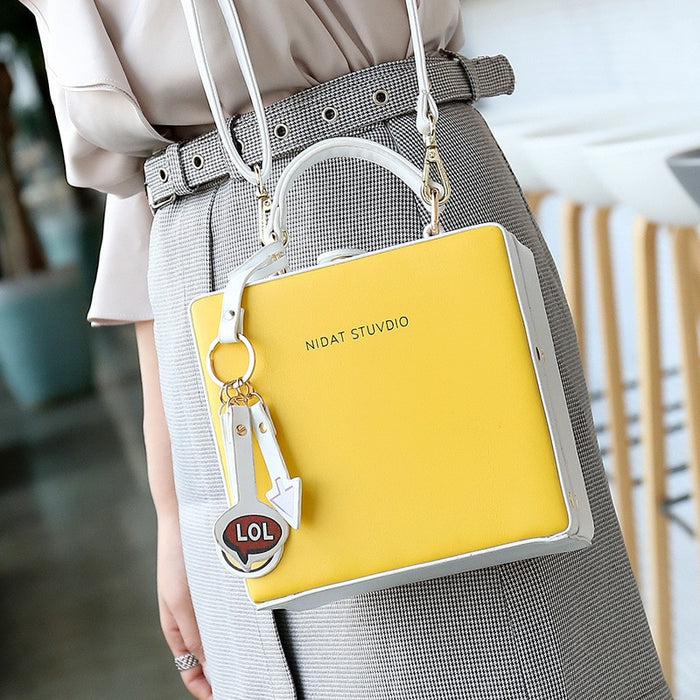 Korean Printing Letter Pu Leather Box Bag Top Handle Women Handbag Casual Shoulder Messenger Bag Cross body Bag Lady Handbag Bag