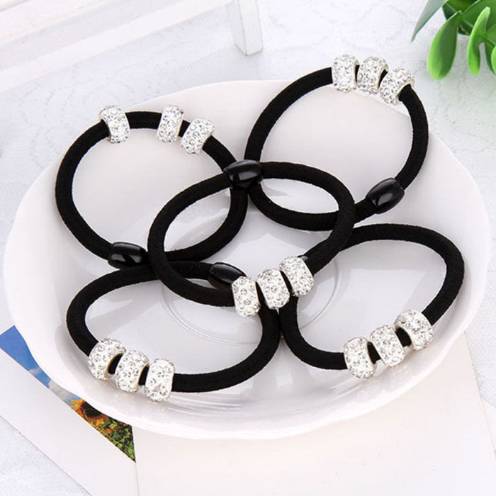 Korean Three Full Crystal Hair Accessories For Women Black Elastic Hair