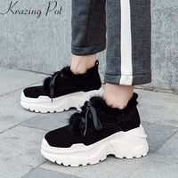 Krazing Pot 2019 new cow suede winter shoes lace up casual round toe sneaker increasing fur platform women vulcanized shoes L72
