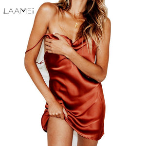 LAAMEI Lady Satin Party Club Dress Sexy New Fashion Deep V Neck Women Summer Robe Slim Sexy Backless Strap Mini Dresses Vestidos