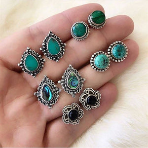 LETAPI Vintage Retro Crystal Earrings For Women Boucle D'oreille Jewelry Bohemian Stud Earring Set Green Stone Fashion Jewelry