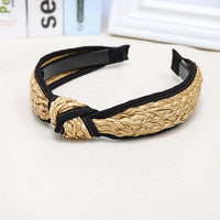 LEVAO Korean Style Solid Knotted Handmade Straw Headband Turban for Women Girls Hoop Bezel Hairbands Hair Accessories Headwear