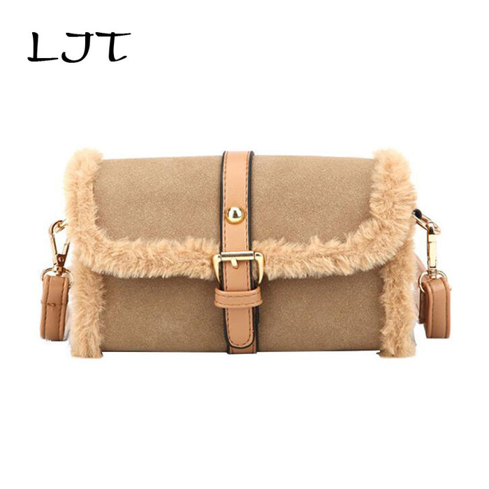 LJT Hot Sale Handbag Women Casual Tote Bag Female Matte Fur Small Messenger Bags High Quality Suede Leather Handbag sac a main