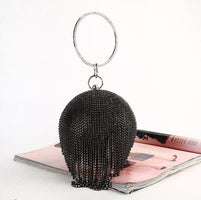 LJT Women Bag Fashion Women's Round Ball Tassel Diamond Evening Bag Party Wedding Bags Women Day Clutch Mini Purse bolsos mujer