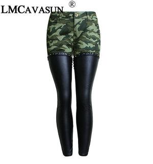 LMCAVASUN PU Leather Patchwork Camouflage Cropped Ankle Jeans Women Low