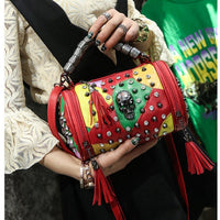LYKANEFU Punk Rock Women Messenger Bags Genuine Leather Tote Purse with Skull Rivet Black Handbag Women Bag Crossbody