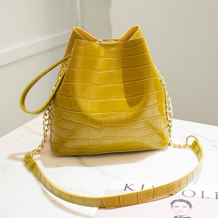 Ladies Hand Bag Yellow Bucket Bags Alligator Leather Women Bag Handbags Famous Brands Summer Beach Bags 2019 Sac  Seau Femme