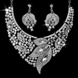 Ladies's Alloy Glass Drill Leaf Shape Earring  Necklace Set Wedding Jewelry Gift Sets  Earring necklace 2 piece set