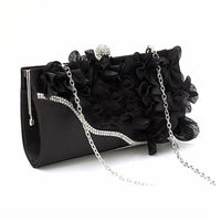 Lady Satin Clutch Bag Flower Evening Party Wedding Purse Chain Shoulder Handbag Colors:Silver