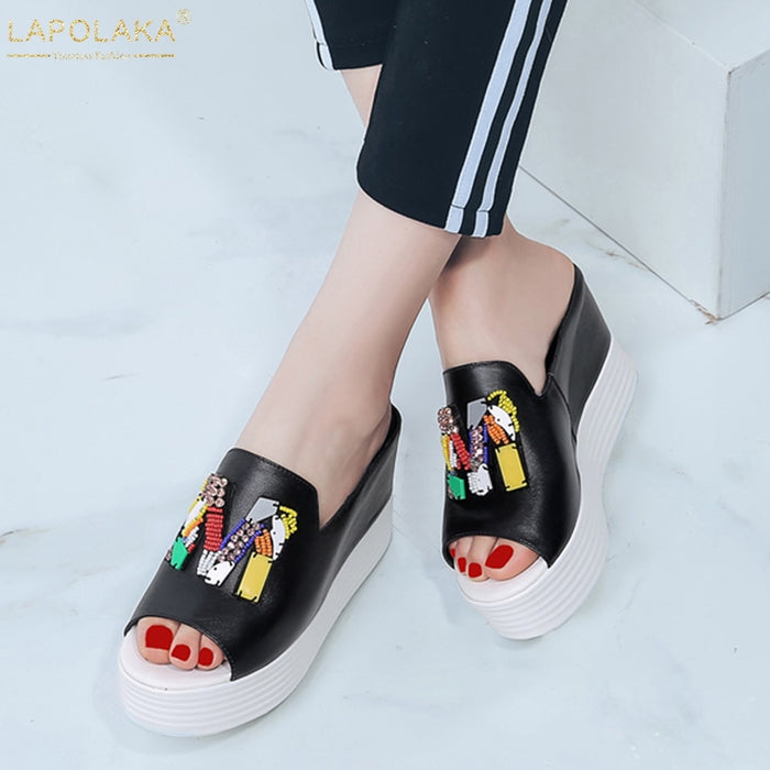 Lapolaka Fashion New Fashion Ladies High Heels Platform Crystal Slippers women's Summer Genuine Leather Women Wedges Shoes Woman