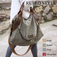 Large Pockets Casual Tote Women's Handbag Shoulder Handbags Canvas Leather Capacity Bags For Women