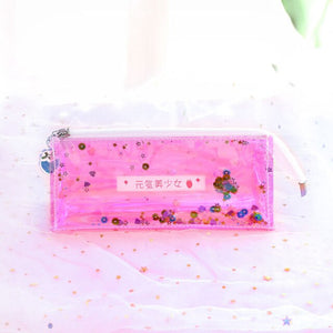 Laser Transparent School Pencil Case for Girls Women Kawaii Pencilcase for Cosmetic Bag Eyeliner Eyebrow Brush Pen Beauty Makeup