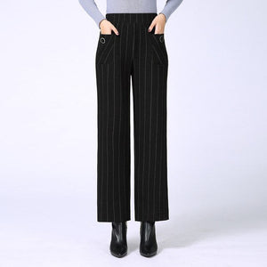Lattice Stripe Casual Pants Women 2019 New Summer Autumn High Waist Elasticity Straight Pants Loose Trousers Female Black