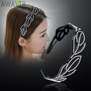 Leaf Crystal Stitching Hair Hoop Women's Headband Solid Fashion Hairbands for Hair Women Fixed Bezel Headwear Hair Accessories
