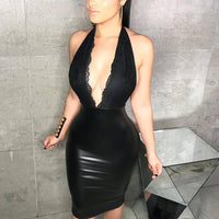 Leather Dress Lace Dress Black Backless Women Summer Dresses Sexy Club Evening