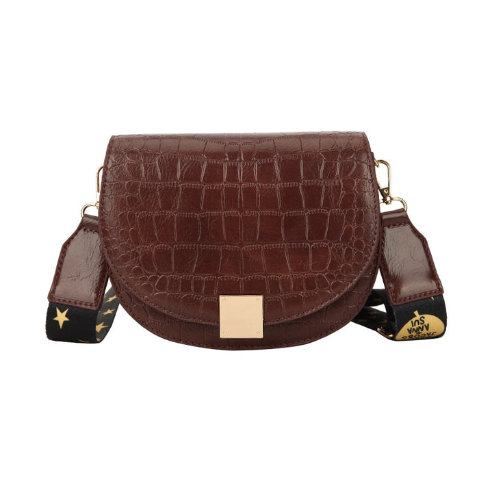 Leather Saddle Bag Crossbody Bags for Women Brown Flap Purses with Wild Shoulder Strap Female Small Handbag Messenger Bags