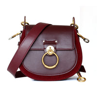 Leather Saddle Bag Female Autumn Winter Retro Wide Shoulder Strap Shoulder Bag Ring Bag  Genuine Leather  Purses and Handbags