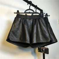 Leather Shorts Women 2019 Autumn WInter Elastic Waist A Linen Wide Leg Shorts 2 Colors Short Trousers Women