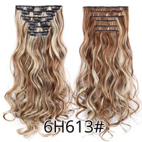 Leeons 22 Inch High Temperature Fiber Curly Synthetic 16 Clips In Hair Extensions For Women Hairpieces Ombre Brown Hair pieces