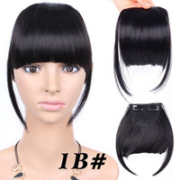 Leeons Natural Straight Synthetic Blunt Bangs High Temperature Fiber Brown Women Clip-In Full Bangs With Fringe Of Hair 6 Inch
