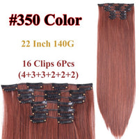 Leeons Set Hair 16 Clip In Hair Extensions With Clips Hairpieces Synthetic Extension False/Fake Hair Blonde Long Hair Pieces