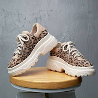 Lenkisen sexy leopard cow suede mixed colors thick bottom flat platform lace up sneakers well-ventilated vulcanized shoes L12