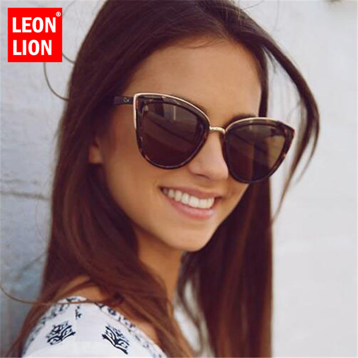 LeonLion 2019 Fashion Cateye Sunglasses Women Vintage Metal Eyewear For Women Mirror Retro Shopping Oculos De Sol Feminino UV400