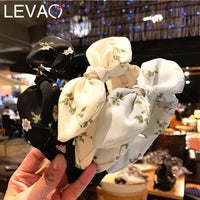 Levao Mori Style Printed Hairbands for Lovely Girls Simple Bunny Rabbit Ear Fabric Headband for Women Hair Accessories for Party